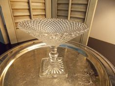DEPRESSION GLASS COMPOTE Miss America by VintageCreativeAccen, $14.00