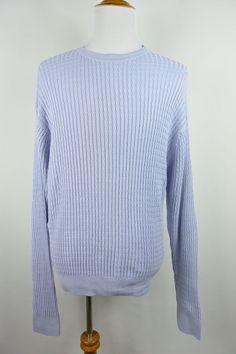 Alex Cannon XL Periwinkle Blue Cotton Rowayton CT Mens Sweater Crewneck #185 #AlexCannon #Crewneck