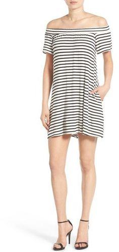 e242fee7526 Socialite Stripe Off the Shoulder Shift Dress