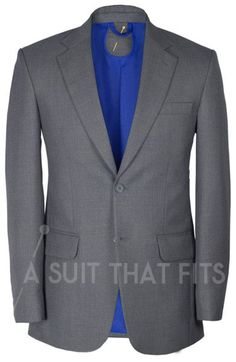 Grey Première Two Piece Suit with a yellow lining.