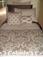 gray and white damask dorm bedding