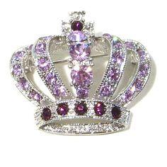 Dark & Light Purple Austrian Rhinestone Royal Crown Silver-Plated Brooch Pin $12.95