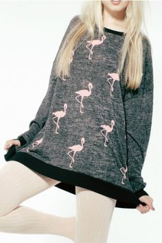 WILDFOX BAREFOOT SWEATER PACK OF FLAMINGOS  The Pack of Flamingos Barefoot Sweater from Wildfox Coutureis the perfect playful piece. A scoop neck and long slouchy sleeves make this loose-fitting tunic sweater cute, comfy and casual. Made from a distressed irish terry fabric which is 85% Cotton, 15% Polyester. The fit is loose and oversized.