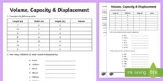 Volume Capacity Displacement Activity Sheet - F - 3 New resources aligned to Aus Curriculum, volume, capacity, displacement,Australia