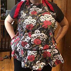 Amazon.com: Flirty Aprons for Women Girs with Pocket,Black White Polka Dot Ruffle Original Apron Retro Sexy Apron Kitchen Cooking Christmas: Home & Kitchen