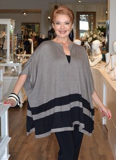 """August 2015. This is one of the six """"Style Steals""""we've just received. These are tunics with a loungy, easy feel that look great on a slim leg pant or jean gets high marks!  Available for a limited time only until stocks run out ."""