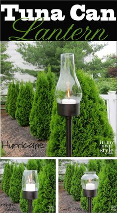 No need to pay catalog prices when you can make your own outdoor tuna can lantern for a few dollars using a tuna can and thrift store finds.