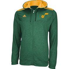 Utah Jazz 2012 Adidas Full Zip NBA Pre-Game Hooded Sweatshirt (Green)
