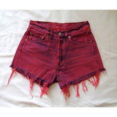 High Waisted Denim Levis Shorts Fushia Pink Dyed Frayed Customised... ($38) ❤ liked on Polyvore