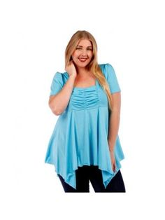 Plus Size Tunic Style Baby Blue Top with Back Tie