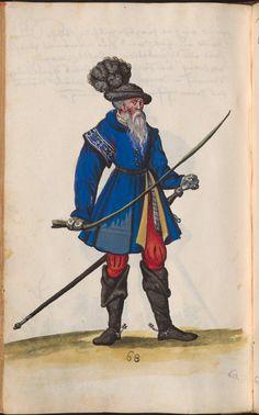 Vibrant blue paltrock, with button front, and high neck. pg 270    Hofkleiderbuch (Abbildung und Beschreibung der Hof-Livreen) des Herzogs Wilhelm IV. und Albrecht V. 1508-1551 - BSB Cgm 1951, München, 16. Jh. [BSB-Hss Cgm 1951]