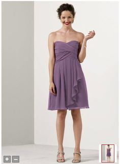 david's bridal short crinkle dress in wisteria (http://www.davidsbridal.com/Product_Short-Crinkle-Chiffon-Dress-with-Front-Cascade-F14847_Bridal-Party-Bridesmaids-Short-Bridesmaid-Dresses)