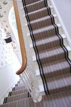 Cost Of Carpet Runners For Stairs Painted Wooden Floors, Victorian Stairs, Hall Colour, Painted Staircases, Cost Of Carpet, Devine Design, Natural Flooring, Tiny Spaces, Carpet Stairs