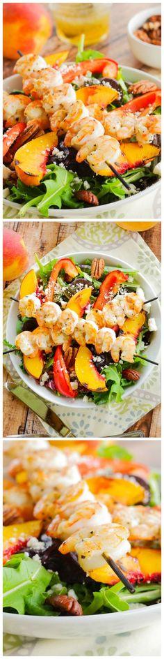 Grilled Shrimp, Peach & Goat Cheese Salad with Honey Balsamic Vinaigrette!