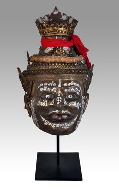 Thai Hermit mask  - Private collection of Stephane Peray - French artist in Bangkok. This one has special yantras in krom language written on it