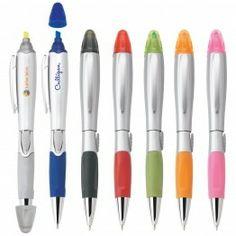 SILVER BLOSSOM PEN/HIGHLIGHTER Colours Available: Silver/Silver, Silver/Blue, Silver/Black, Silver/Red, Silver/Green, Silver/Orange, Silver/Pink