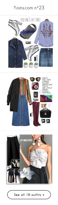 """""""Yoins.com nº23"""" by hamaly ❤ liked on Polyvore featuring yoins, yoinscollection, loveyoins, Frame, Yves Saint Laurent, Maybelline, N°21, Lizzie Fortunato, ADZif and Polaroid"""