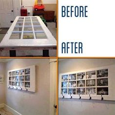 Door transformed into a wonderful wall of framed photos & hooks to hang belongings. Love the black and white photo theme