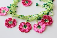 Cherry Blossom Necklace Pink crochet flowers by PetyaTwinkles