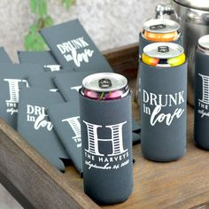 Gift these useful favors to your friends and family to use during your wedding and then take home to remember your wedding day every time they enjoy a cold beverage. Made of high quality, machine washable neoprene, these collapsible can sleeves fit comfortably in a back pocket and will last longer than sponge foam beer can coolers.