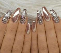 24 Stunning Glitter Nail Art Designs That You Will Love to Try; nail designs designs for short nails step by step best nail stickers nail art sticker stencils full nail stickers Gorgeous Nails, Fabulous Nails, Pretty Nails, Amazing Nails, Perfect Nails, Gold Nail Art, Glitter Nail Art, Glitter Nail Designs, Chrome Nails Designs