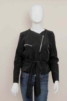 KENZO Black Drape Open Back Cape Bolero Moto Zip Jacket Coat Barneys Sz 36/0/XS #Kenzo #Motorcycle