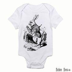 White Rabbit, Alice in Wonderland, Baby Clothes, Baby Shower Gift