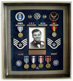 I did this shadow box to honor the memory of my late brother Jim. He served 6 years in the Air Force before he passed away in Military Box, Military Shadow Box, Military Retirement, Military Signs, Diy Shadow Box, Shadow Box Frames, Military Memorabilia, Display Case, Display Boxes