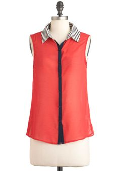 Cherry Ice Top - Red, Black, White, Buttons, Sleeveless, Mid-length, Casual, Colorblocking, Sheer, Button Down, Collared
