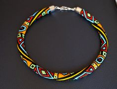 "Bead crochet necklace ""Color geometry"""