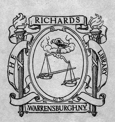 Bookplate of The Richards Library Artist: K.C.     Date: 1902     Description: States, 'The Richards Library, Warrensburgh, N.Y.' depicts a hand holding a scale that balances a sword and a feather. Signed at bottom K.C. 1902.'     Format: 1 print, b&w, 8 x 7 cm.     Source: Pratt Institute Libraries, Special Collections 875c (sc00548)