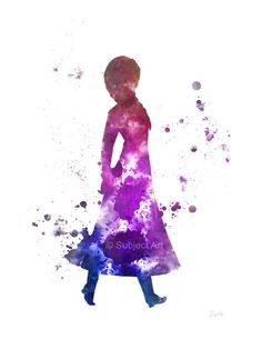 Anna, Ilustración de la lámina congelada, princesa, Disney, arte de la pared, decoración del hogar, vivero