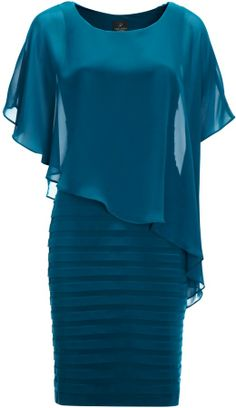 Adrianna Papell Chiffon Drape Dress, Deep Turquoise on shopstyle.co.uk