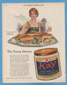 1928 Kraft Cheese Co Toasted Kay Sandwiches Young Hostess Kitchen Decor ad