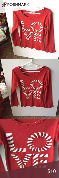 """Girl's Red LOVE top! ❤️ Pretty long sleeve girl's top by """"HavenGirl"""".  Stretch with red beading.  Excellent condition. Washed. SIZE 5 Havengirl Shirts & Tops"""