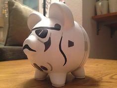 Star Wars Stormtrooper Hand Painted Ceramic Piggy por KaleyCrafts