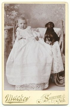 +~+~ Antique Photograph ~+~+ Precious portrait of a baby and her pup friend.