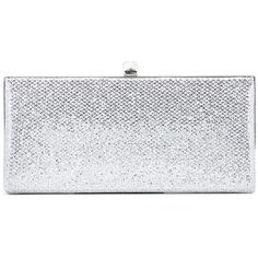 Jimmy Choo Celeste Glitter Clutch ($755) ❤ liked on Polyvore featuring bags, handbags, clutches, silver, jimmy choo, silver glitter purse, glitter purse, silver purse and silver clutches