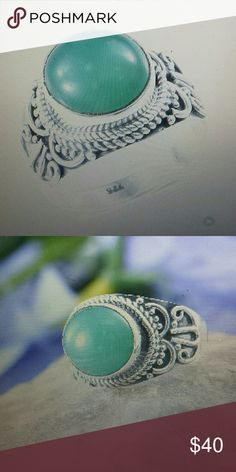 Chrysoprase ring in sterling silver Artisian crafted Australian crisis raise round ring in sterling silver Jewelry Rings