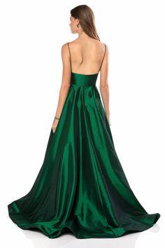 Sherri Hill - 51822 Plunging Empire Taffeta A Line Dress Gala Dresses, Evening Dresses, Sherri Hill Homecoming Dresses, Prom Dress Stores, Designer Prom Dresses, Taffeta Dress, A Line Gown, Buy Dress, Dress Red