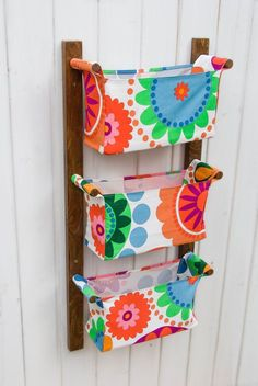 Wall hanging storage  with 3 pockets  bins chocolate by OdorsHome, $75.00  made with IKEA fabric.