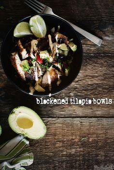 Blackened Tilapia Bowl ..brown rice, avocado, tilapia, etc.