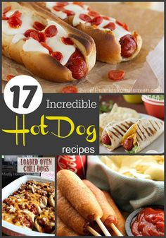 17 Incredible Hot Dog Recipes You Have to Try. You'll never go back to just ketchup and mustard. Promise! From super easy homemade corndogs, pizza dogs, taco dogs and even oven baked chili dogs. Yum!