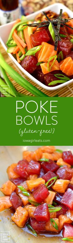 Get a taste of Hawaii at home with Poke Bowls with Sesame-Soy Almonds! These gluten-free, deconstructed sushi bowls are popular in the islands, but are fun and easy to assemble on the mainland!   iowagirleats.com