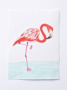 ORIGINAL flamingo watercolor painting  - bird -  turquoise - coral - nursery artwork - sea - water