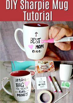 DIY sharpie mug tutorial – great for DIY Mother's Day or Teacher Gift - DIY Gifts Simple Ideen Diy Gifts For Mom, Mothers Day Crafts For Kids, Diy Mothers Day Gifts, Gifts In A Mug, Diy Mother's Day Mugs, Diy Mugs, Diy Mother's Day Crafts, Mother's Day Diy, Spring Crafts