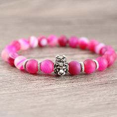 Pink Jewelry Women Trendy Wrap Bracelets Lion Head Beaded Matte Agate Stones for Ladies Formal Party Fashion Accessories