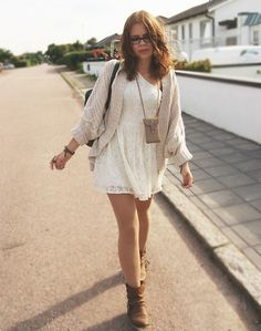 White Lace Mini Dress + Cream Knit Cocoon Sweater + Brown Flat Ankle Boots