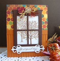 Cathy Weber made this card using Serendipity Stamps Bare Tree and Everyday Words rubber stamps and Madison Grand Window Die Fall Cards, Holiday Cards, Christmas Cards, Digital Scrapbook Paper, Scrapbook Cards, Envelopes, Memory Box Cards, Window Cards, Window Frames