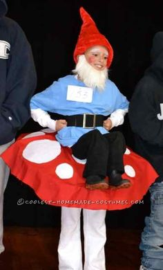 Cool Homemade Costume: Garden Gnome Sitting on Top of a Mushroom!